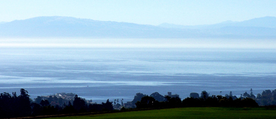 Panoramic photo of Monterey Bay from UCSC